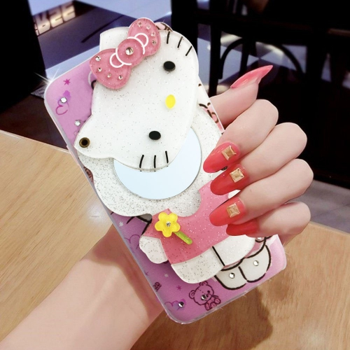 f98d3e86c0 ... KC Mirror Kitten with Yellow Flower Diamonds Studs Back Cover for Apple  iPhone 7 - Pink
